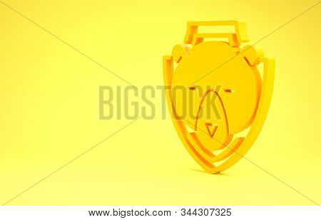 Yellow Bear head on shield icon isolated on yellow background. Hunting trophy on wall. Minimalism concept. 3d illustration 3D render stock photo