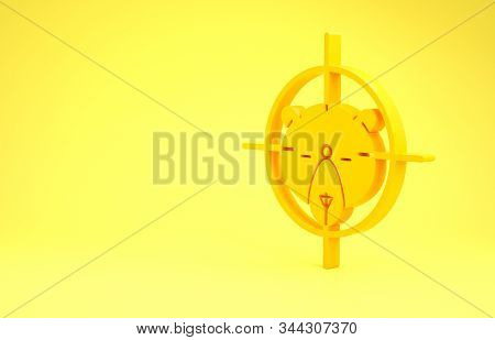 Yellow Hunt on bear with crosshairs icon isolated on yellow background. Hunting club logo with bear and target. Rifle lens aiming a bear. Minimalism concept. 3d illustration 3D render stock photo