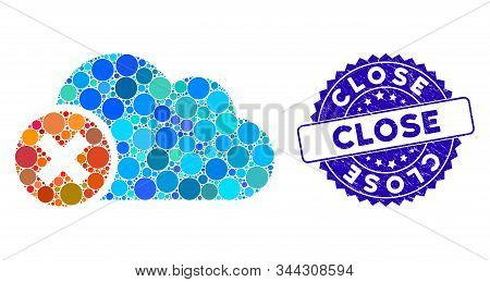 Mosaic close cloud icon and distressed stamp seal with Close text. Mosaic vector is formed with close cloud icon and with scattered spheric items. Close stamp uses blue color, and grunged surface. stock photo