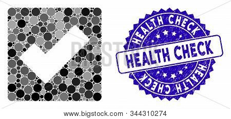 Collage check icon and grunge stamp seal with Health Check phrase. Mosaic vector is composed with check icon and with randomized round items. Health Check stamp seal uses blue color, stock photo
