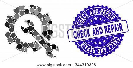 Mosaic repair icon and corroded stamp seal with Check and Repair text. Mosaic vector is formed with repair icon and with randomized round elements. Check and Repair stamp seal uses blue color, stock photo