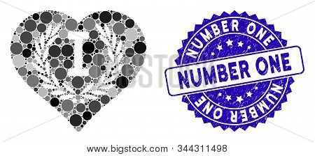 Mosaic love number one icon and distressed stamp seal with Number One phrase. Mosaic vector is created with love number one pictogram and with randomized spheric spots. stock photo