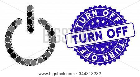Mosaic turn off icon and corroded stamp seal with Turn Off text. Mosaic vector is created with turn off icon and with randomized circle elements. Turn Off seal uses blue color, and grunge design. stock photo