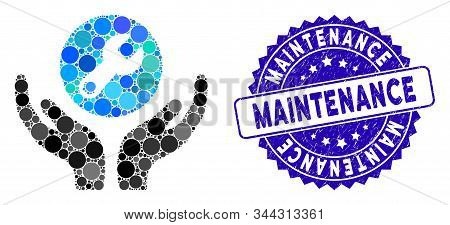 Mosaic wrench maintenance icon and corroded stamp seal with Maintenance phrase. Mosaic vector is designed from wrench maintenance icon and with random round elements. stock photo