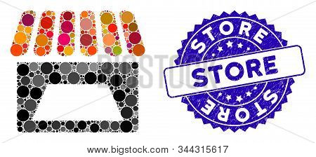 Mosaic store icon and distressed stamp seal with Store text. Mosaic vector is composed with store pictogram and with random spheric elements. Store stamp seal uses blue color, and grunge design. stock photo