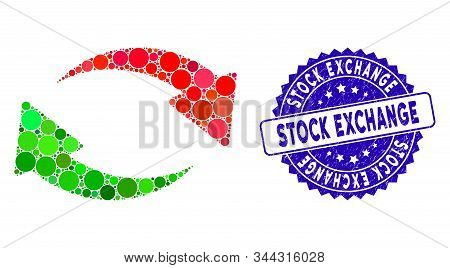 Mosaic exchange icon and rubber stamp seal with Stock Exchange caption. Mosaic vector is composed with exchange icon and with scattered circle items. Stock Exchange stamp seal uses blue color, stock photo