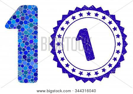 Collage 1 digit icon and grunge stamp seal with 1 caption. Mosaic vector is formed with 1 digit icon and with random circle items. 1 stamp seal uses blue color, and distress design. stock photo