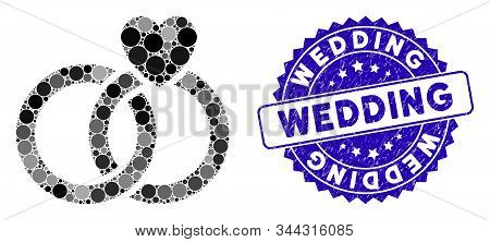 Collage wedding rings icon and grunge stamp seal with Wedding phrase. Mosaic vector is formed with wedding rings icon and with random spheric spots. Wedding stamp seal uses blue color, stock photo