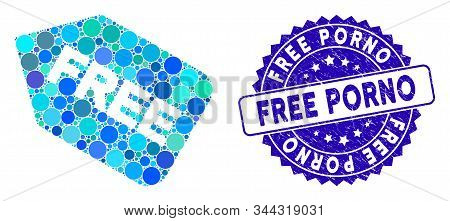 Mosaic free sticker icon and distressed stamp watermark with Free Porno phrase. Mosaic vector is designed with free sticker icon and with scattered circle elements. Free Porno stamp uses blue color, stock photo