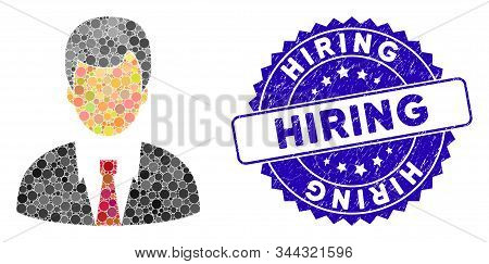 Collage businessman icon and grunge stamp watermark with Hiring phrase. Mosaic vector is designed with businessman icon and with scattered round spots. Hiring stamp uses blue color, stock photo
