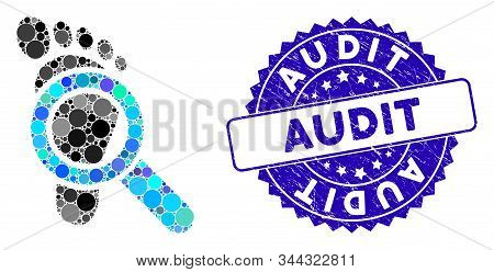 Collage audit icon and rubber stamp watermark with Audit phrase. Mosaic vector is created with audit icon and with scattered round spots. Audit stamp uses blue color, and rubber surface. stock photo