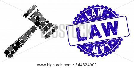 Mosaic law hammer icon and grunge stamp seal with Law caption. Mosaic vector is formed with law hammer icon and with random spheric spots. Law stamp seal uses blue color, and grunge design. stock photo