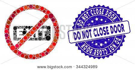 Mosaic no evacuation icon and distressed stamp seal with Do Not Close Door phrase. Mosaic vector is formed with no evacuation icon and with randomized spheric spots. stock photo