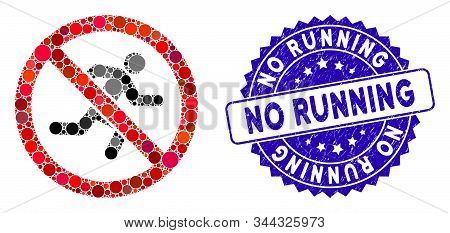 Mosaic no running icon and distressed stamp watermark with No Running phrase. Mosaic vector is designed with no running icon and with random circle items. No Running stamp uses blue color, stock photo