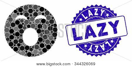 Mosaic sleepy smiley icon and corroded stamp watermark with Lazy text. Mosaic vector is formed with sleepy smiley icon and with scattered spheric spots. Lazy stamp seal uses blue color, stock photo