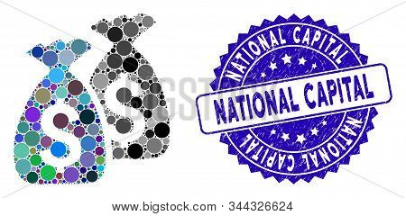Mosaic money bags icon and rubber stamp watermark with National Capital phrase. Mosaic vector is composed with money bags icon and with scattered circle items. National Capital stamp uses blue color, stock photo