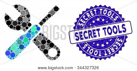 Mosaic tools icon and corroded stamp watermark with Secret Tools text. Mosaic vector is formed with tools icon and with random spheric elements. Secret Tools stamp uses blue color, and grunged design. stock photo