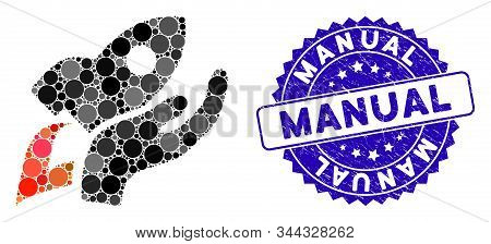 Mosaic manual rocket launch icon and grunge stamp watermark with Manual phrase. Mosaic vector is composed with manual rocket launch icon and with randomized spheric spots. stock photo