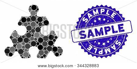 Mosaic hex puzzle item icon and distressed stamp seal with Sample text. Mosaic vector is designed with hex puzzle item pictogram and with randomized round items. Sample stamp seal uses blue color, stock photo