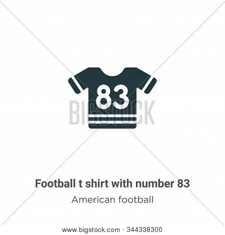 Football t shirt with number 83 vector icon on white background. Flat vector football t shirt with number 83 icon symbol sign from modern american football collection for mobile concept and web apps stock photo