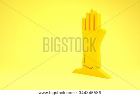 Yellow Zombie hand icon isolated on yellow background. Arm monster dead. Happy Halloween party. Minimalism concept. 3d illustration 3D render stock photo