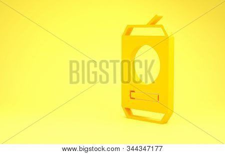 Yellow Beer can icon isolated on yellow background. Minimalism concept. 3d illustration 3D render stock photo