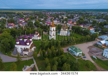 Old Cathedral Square on august afternoon (aerial photography). Kargopol, Russia stock photo