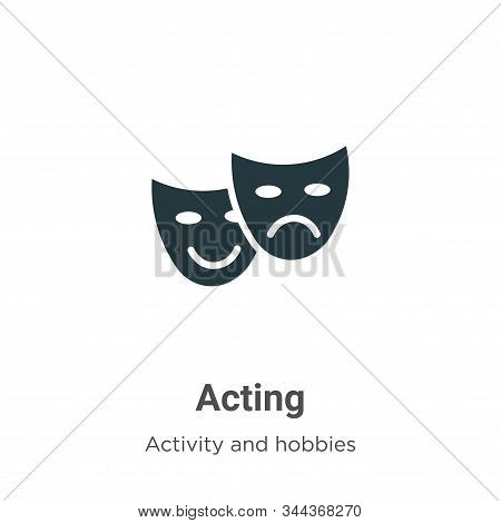 Acting vector icon on white background. Flat vector acting icon symbol sign from modern activity and hobbies collection for mobile concept and web apps design. stock photo