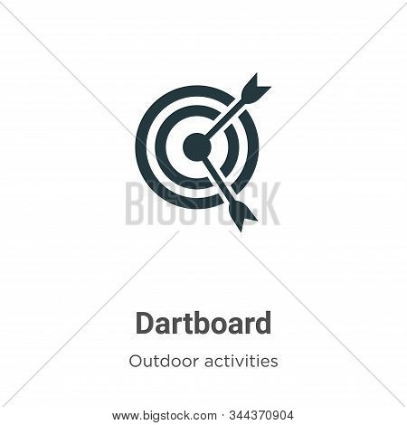 Dartboard vector icon on white background. Flat vector dartboard icon symbol sign from modern outdoor activities collection for mobile concept and web apps design. stock photo