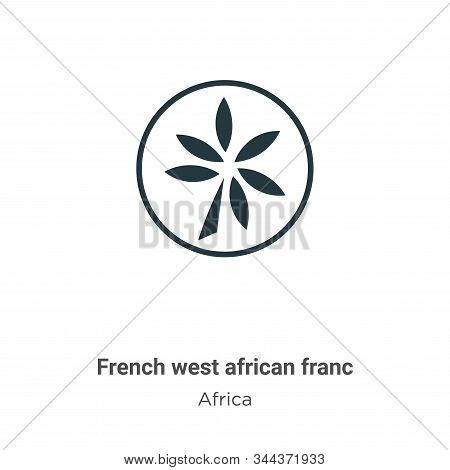 French west african franc vector icon on white background. Flat vector french west african franc icon symbol sign from modern africa collection for mobile concept and web apps design. stock photo