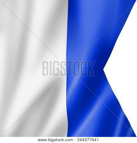 Alpha international maritime signal flag. Nautical letters symbol collection. 3D illustration stock photo