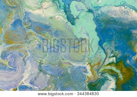 Blue green red blur marbling  texture. Creative background with abstract oil painted waves handmade surface. Liquid paint. stock photo