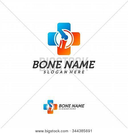 Bone Plus logo. Healthy bone Icon. Knee bones and joints care protection logo template. Medical flat logo design. Vector of human body health. Emblem symbol. stock photo