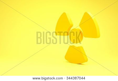 Yellow Radioactive icon isolated on yellow background. Radioactive toxic symbol. Radiation Hazard sign. Minimalism concept. 3d illustration 3D render stock photo