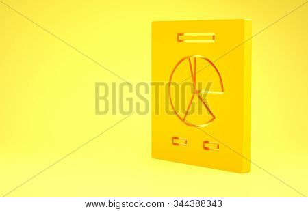 Yellow Document with graph chart icon isolated on yellow background. Report text file icon. Accounting sign. Audit, analysis, planning. Minimalism concept. 3d illustration 3D render stock photo