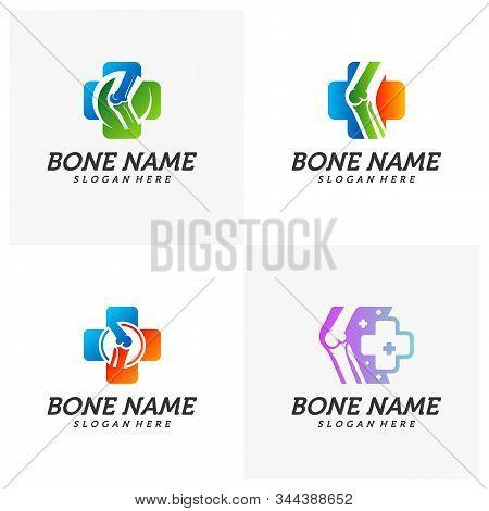 Set of Bone Plus logo. Healthy bone Icon. Knee bones and joints care protection logo template. Medical flat logo design. Vector of human body health. Emblem symbol. stock photo