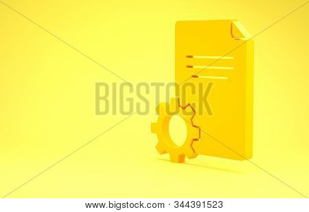 Yellow File document icon isolated on yellow background. Adjusting, service, setting, maintenance, repair, fixing. Minimalism concept. 3d illustration 3D render stock photo