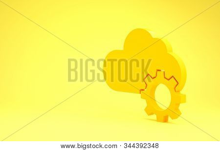Yellow Cloud technology data transfer and storage icon isolated on yellow background. Adjusting, service, setting, maintenance, repair, fixing. Minimalism concept. 3d illustration 3D render stock photo