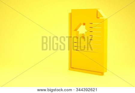 Yellow House contract icon isolated on yellow background. Contract creation service, document formation, application form composition. Minimalism concept. 3d illustration 3D render stock photo