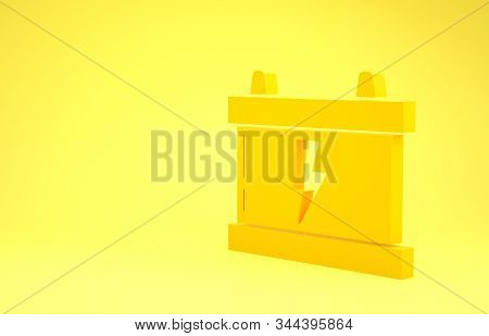 Yellow Car battery icon isolated on yellow background. Accumulator battery energy power and electricity accumulator battery. Lightning bolt. Minimalism concept. 3d illustration 3D render stock photo