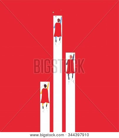 Achievement goal, businessman superhero flies up overtaking competitors. Minimalistic concept of career growth, business performance, winning strategy and leadership. stock photo