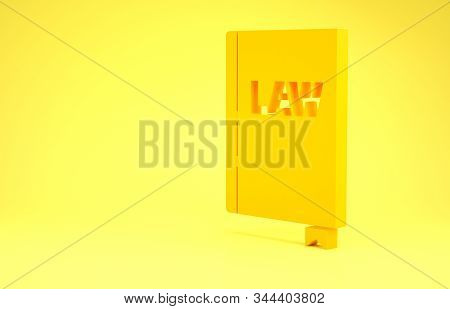 Yellow Law book icon isolated on yellow background. Legal judge book. Judgment concept. Minimalism concept. 3d illustration 3D render stock photo
