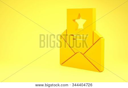 Yellow The arrest warrant icon isolated on yellow background. Police badge with document. Warrant, police report, subpoena. Justice concept. Minimalism concept. 3d illustration 3D render stock photo
