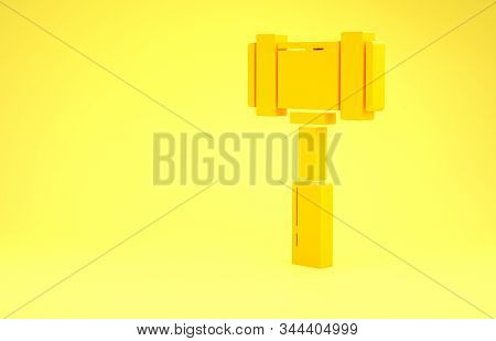 Yellow Judge gavel icon isolated on yellow background. Gavel for adjudication of sentences and bills, court, justice. Auction hammer. Minimalism concept. 3d illustration 3D render stock photo