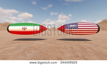 Conflict Iran and the United States, 3D rendering stock photo