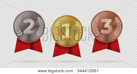 Gold, silver, bronze champion medal with red ribbon. First, second, third placement achievement bages. Realistic vector illustration medals of metal like symbol motivation or quality stock photo