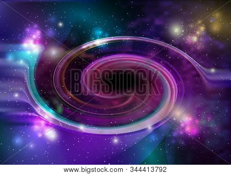 Black hole, vector spiral galaxy space. Star field in space and a nebulae. Abstract background of universe and a gas congestion. Stars, dust and gas nebula in a far galaxy stock photo