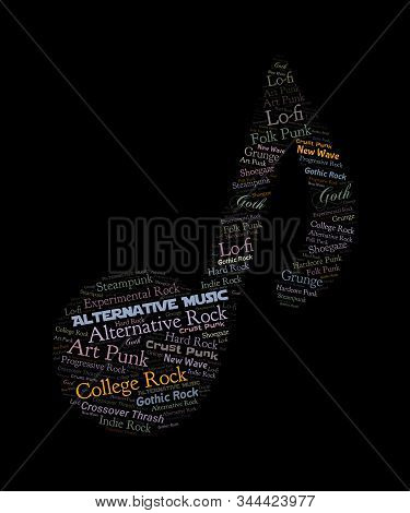 Alternative music word cloud graphic in a musical note shape.  Subgenres are: collge rock, new wave, lo-fi, hardcore punk, shoegaze, crust punk, gothic rock, experimental rock, steampunk, art punk, crossover thrash, indie rock, hard rock, folk punk.  Grea stock photo