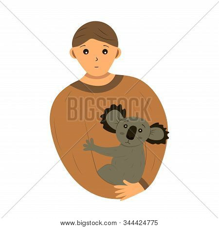 A man holds a small koala in his arms. Rescue animals from fires in Australia. Brave man, volunteer and firefighter rescuer. Call for help. The concept of saving the life of koalas and all Australian animals. Cartoon style illustration stock photo