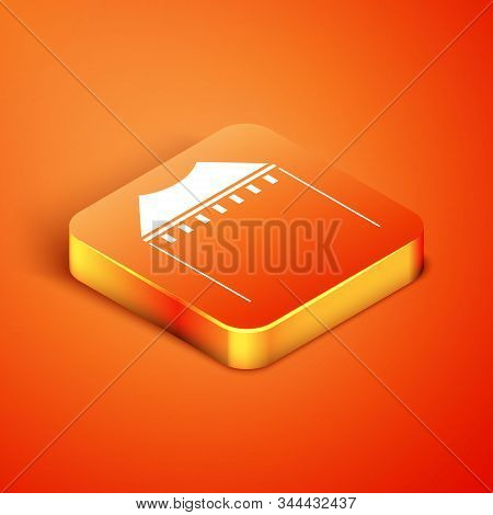 Isometric Camping tent icon isolated on orange background. Carnival camping tent. Amusement park. Vector Illustration stock photo